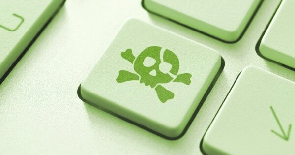 Piracy attack button on the keyboard. Toned Image.