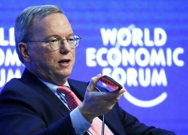 "Schmidt, Executive Chairman of Google, speaks during the session ""The Future of the Digital Economy"" in the Swiss mountain resort of Davos"