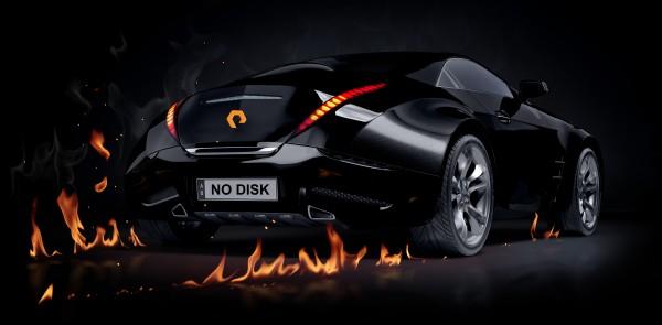 Black sports car. Non-branded car design.