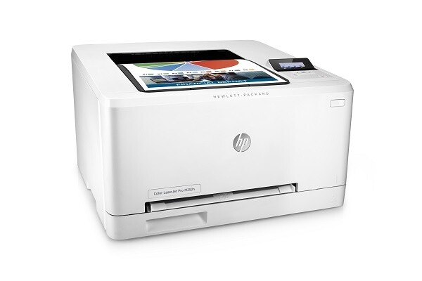 HP Color LaserJet Pro M252n, Right facing, with output
